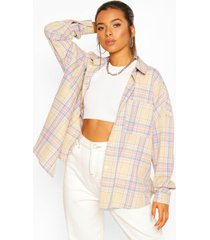 petite oversized pocket detail flannel shirt, pink