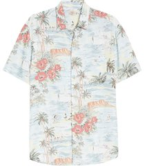 men's faherty kona print short sleeve button-up aloha shirt