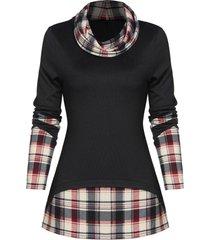 plaid print back slit faux twinset sweater