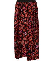 marni lip print pleated skirt