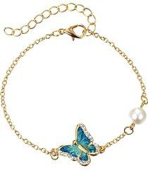 braccialetti di fascino etnici della farfalla dello smalto dell'annata braccialetti di perla strass abbagliante dell'annata per le donne