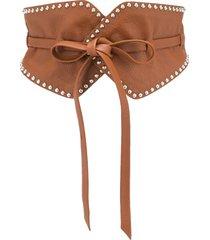 b-low the belt studded tie waistband belt - brown