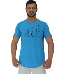 camiseta longline alto conceito evoluã§ã£o azul piscina - azul - masculino - algodã£o - dafiti