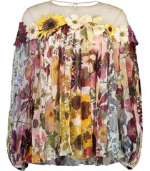 flower embroidered chiffon blouse