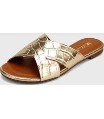 sandalia  plana dorado via uno