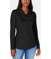 karen scott cotton shawl-collar top, created for macy's