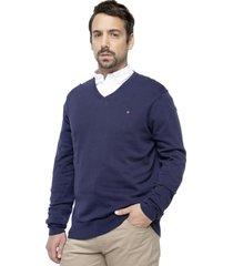 sweater cuello en v azul kostumo
