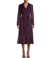 sheer silk belted coat