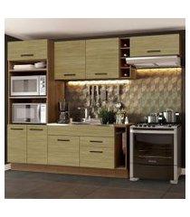cozinha completa madesa agata 290002 com armário e balcão (sem tampo e pia) rustic/carvalho rustic/carvalho