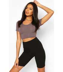 recycled rib crop top, charcoal