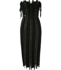 dolce & gabbana strapless tie detailed eyelet dress - black