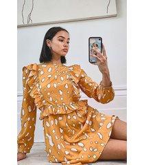 smudge print long sleeve ruffle skater dress, yellow