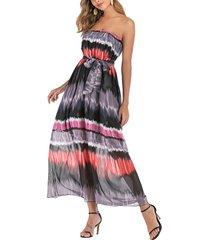 chiffon printed bandeau long belted dress