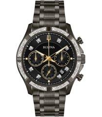 bulova men's chronograph diamond-accent gunmetal stainless steel bracelet watch 42mm, created for macy's