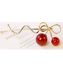 fermaglio per capelli oro argento lega rosso cherry bowknot design tornante accessori per capelli per le donne