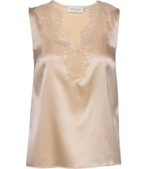silk top blouse mouwloos beige rosemunde