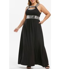 plus size sequin cut out maxi party dress