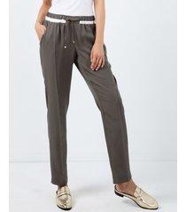 spodnie z kremowym pasem khaki