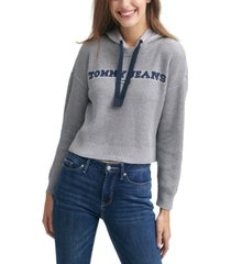 tommy jeans mixed-media waffled hoodie sweater