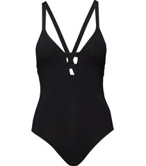 active deep v maillot badpak badkleding zwart seafolly