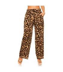 trendy casual zomer broek luipaard-print luipaardbruin