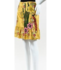 yellow multicolor silk floral embellished skirt