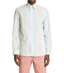 jw anderson relaxed fit stripe button-up shirt, size 34 us/ 44 eu - blue/green
