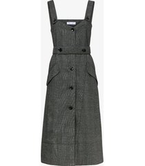 proenza schouler white label plaid suiting trench dress charcoal multi/blue 4