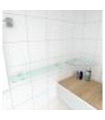 kit com 2 prateleiras de vidro temperado para banheiro 1 de 30 cm para canto e 1 de 60 cm reta