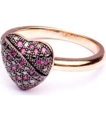 anel boca santa coração alado rubi - ouro rosê