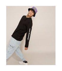 camiseta de algodão manga longa gola careca baw clothing preta
