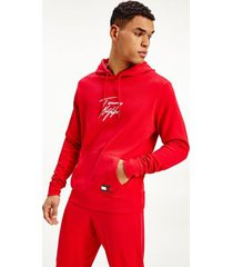 tommy hilfiger men's organic cotton signature hoodie red - s