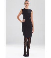 compact knit crepe seamed sheath dress, women's, black, size 6, josie natori