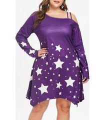 plus size star pattern long sleeve dress