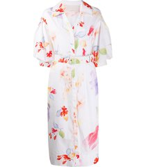 peter pilotto floral print belted shirt dress - white
