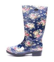 galocha bota floral gasf azul ad042