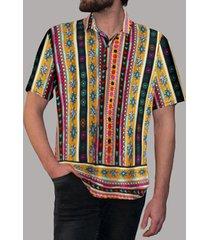 incerun hombre estampado étnico verano estampado geométrico cómodo soft transpirable camisa