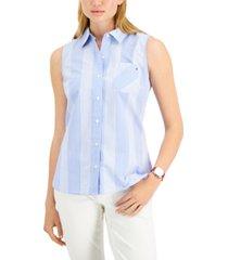 tommy hilfiger cotton cooper check sleeveless shirt