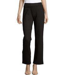 wide-leg pinstripe ponte pants