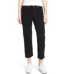 women's levi's wedgie high waist straight jeans, size 30 x 28 - black
