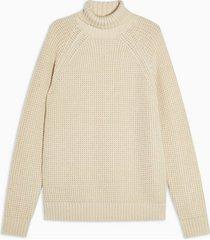 mens beige stone twist waffle turtle neck sweater