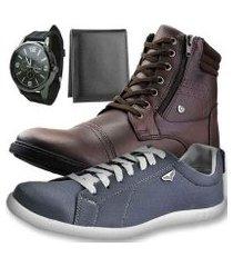 kit bota casual dhl masculino + sapatênis + relógio + carteira slim