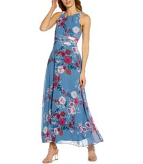 adrianna papell printed halter gown