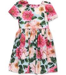 power pastel camellia print popeline jurk