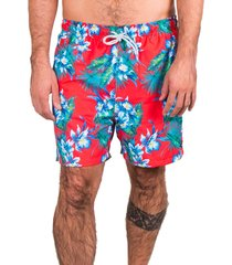 short de banho kevingston wind hawaii red estampado com forro interno e bolso traseiro