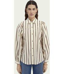 scotch & soda katoenen blouse in westernstijl met ballonmouwen