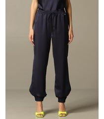 armani exchange pants armani exchange trousers in satin with side slits