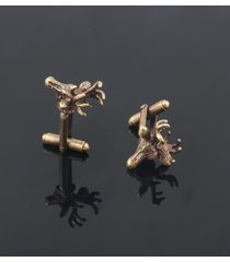 vintage 1 paio di gemelli in oro antico con legami di corno di cervo e lega di rame