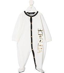 versace kids metallic logo contrast-trimmed pajama - white