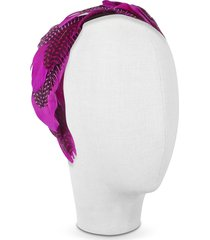 nana' designer women's hats, antonella - fuchsia polkadot feather headband